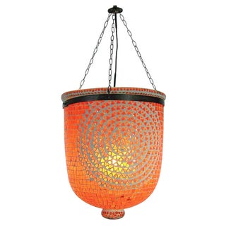 Orange Mosaic Glass Bucket Lantern
