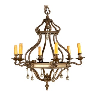 19th Century Dutch Bronze and Crystal Six-Arm Chandelier