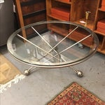 Image of Modern Round Glass & Steel Base Coffee Table