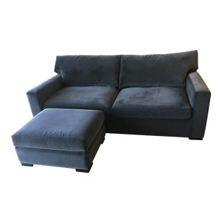 Crate & Barrel Blue Velvet Sofa & Ottoman
