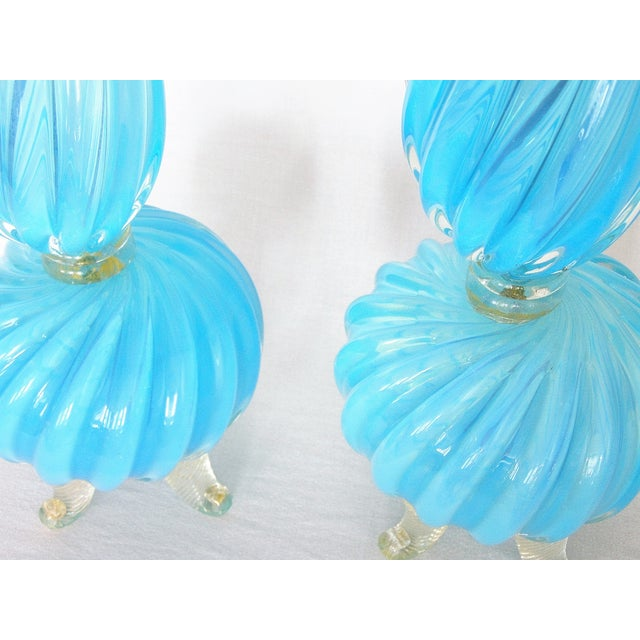 Barovier & Toso Blue and Gold Italian Murano Glass Mid-Century Modern Table Lamps Venetian Italy- a Pair Millennial - Image 7 of 11