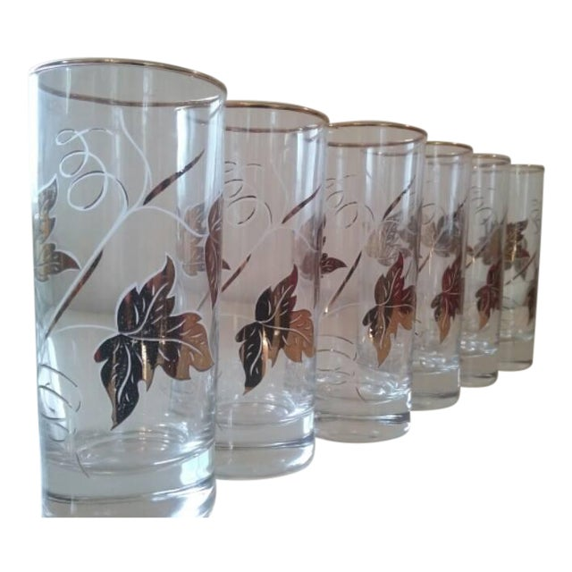 Image of Elegantly Playful Gold White Glasses - Set of 6
