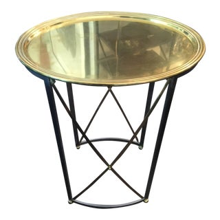 Maison Jansen Brushed Steel and Brass Tray Table