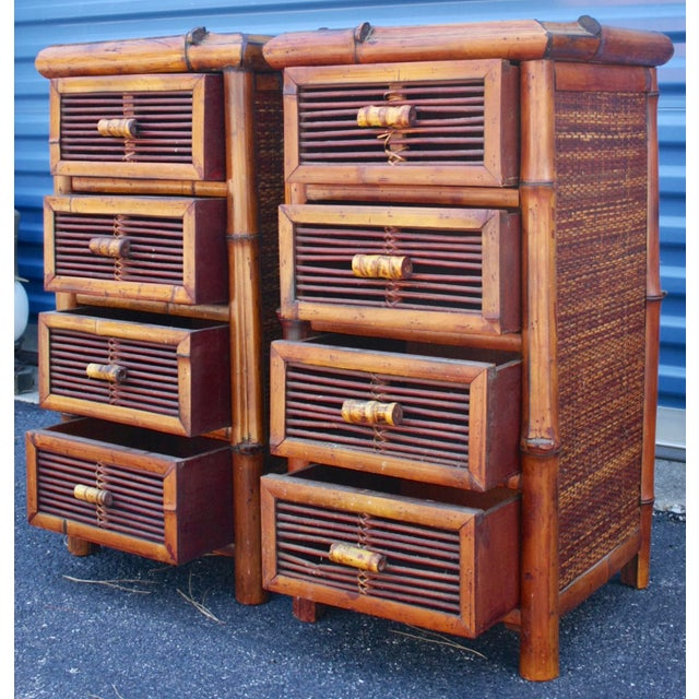 Bamboo Wicker Chests of Drawers / Nightstands - a Pair - Image 5 of 8