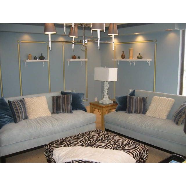 Blue Microfiber Sofa - Image 4 of 5