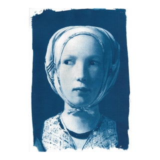 Girl from De La Tour Cyanotype Print