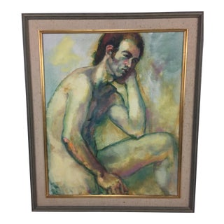 Mid-Century Nude Male Study Painting