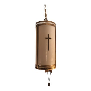 Mid-Century Fiberglass Shade Hanging Church Light