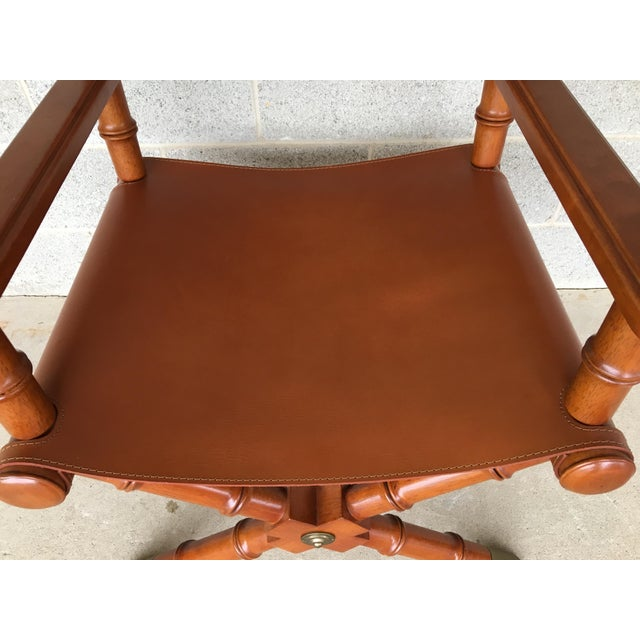 Faux Bamboo Leather Directors Chair W/ Brass Accents - Image 6 of 8