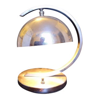 Mid-Century Silver Chrome Dome Sphere Desk Lamp