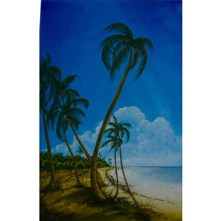 'Palms on a Beach' Watercolor Painting