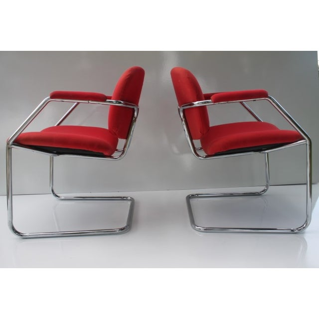 Mid-Century Chrome Accent Chairs - A Pair - Image 6 of 8