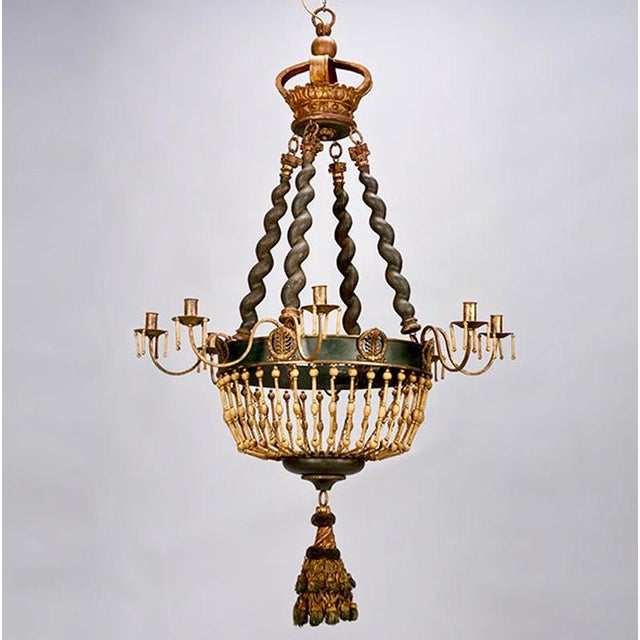 19th Century Custom Eight Arm Chandelier With Italian Crown - Image 2 of 8