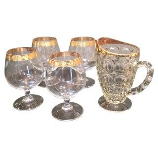 Mid-Century Greek Gold Tipped Glass Barware Set