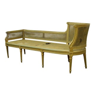 Antique French Louis XVI Style Caned Chaise Lounge