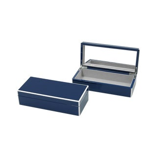 Lacquer Vanity/Remote Box, Navy Blue