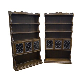 Ethan Allen Royal Charter Oak Leaded Glass Door Tall Open Bookcases - a Pair