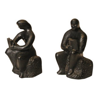Leo Middleman Mid-Century Black Chalkware Bookends - Pair
