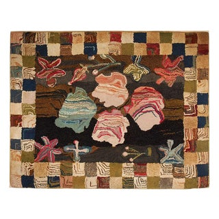 Early 20th Century New England Mounted Hand Hooked Geometric Rug