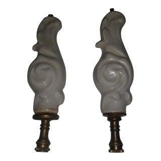 Porcelain Antique Lamp Finials - a Pair