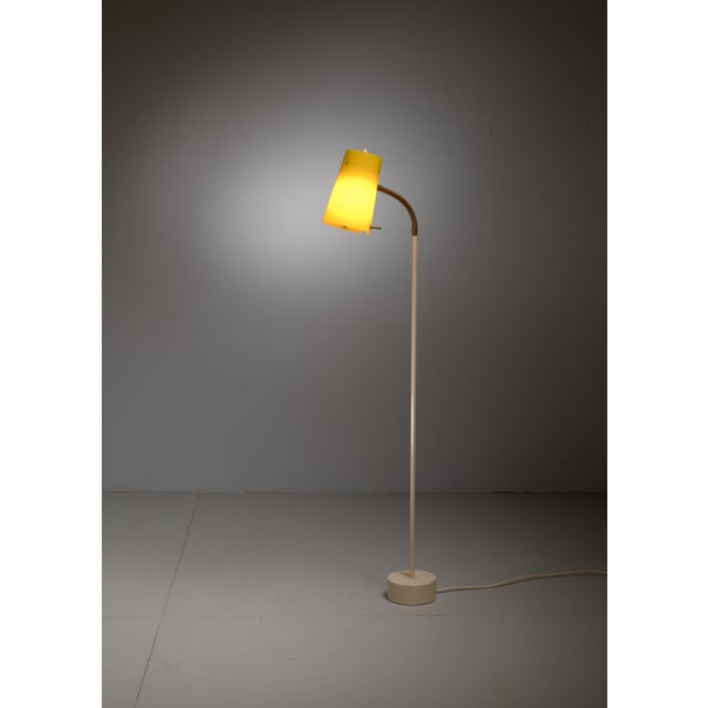 Scandinavian Modern Floor Lamp with Yellow Plexiglass Adjustable Shade, 1950s - Image 2 of 6
