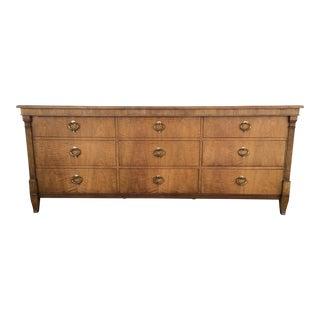 Baker Hollywood Regency Walnut 9 Drawer Dresser