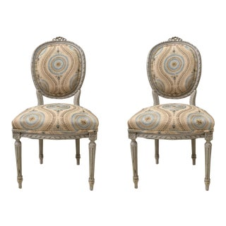 Carved French Gray Side Chairs - A Pair