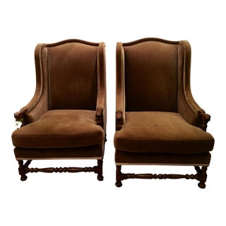 Gregorius Pineo Brown Mohair Wingback Chairs - A Pair