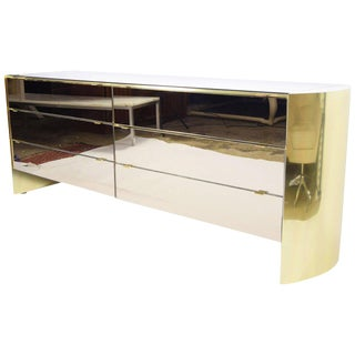 Smoked Mirror and Brass Finish Cabinet by Ello