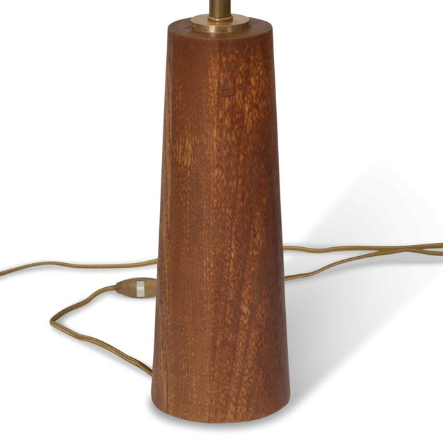 Image of Pair of Turned Solid Mahogany Table Lamps, Danish 1950s