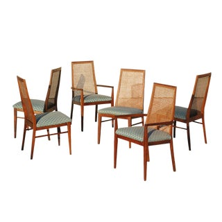Milo Baughman for Dillingham Caned Back Dining Chairs - Set of 6