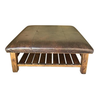 Pottery Barn Leather Upholstered Carved Wood Coffee Table