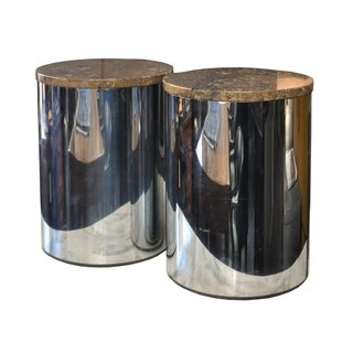 Chrome Metal & Stone Side Tables - A Pair