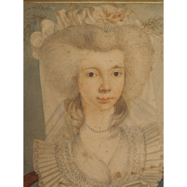 18th Century Style Watercolor Portrait of a Young Lady - Image 4 of 6