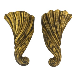 Indian Gilt Cast Iron Wall Pockets- A Pair