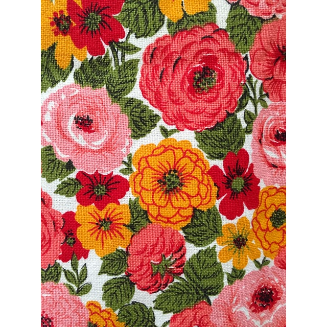 Vintage 1960s Pink Floral Curtain - Image 3 of 6