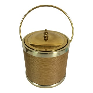 Vintage Gold And Rattan Insulated Ice Bucket