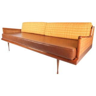 Mid-Century Modern Walnut and Cane Sofa