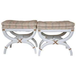 Hollywood Regency White Painted X-Benches - A Pair