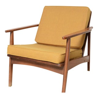 Mid-Century Modern Teak & Harvest Gold Upholstered Arm Chair