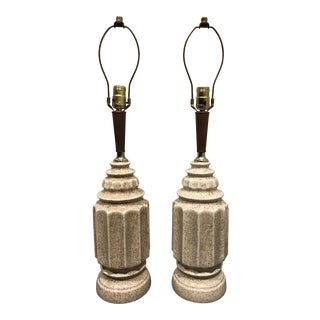 Mid-Century Glazed Ceramic Table Lamps - A Pair