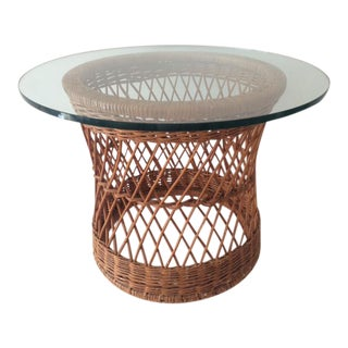 Vintage McGuire Rattan Round Side Table