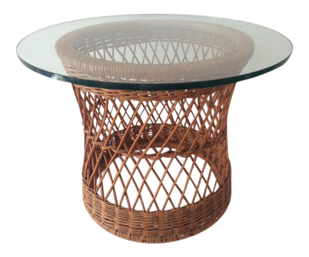 Vintage McGuire Rattan Round Side Table