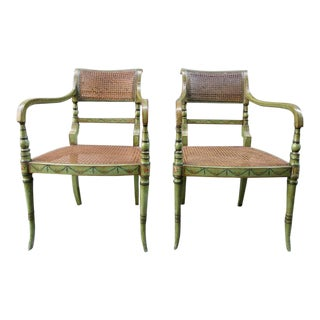 Pair of 19th Century English Regency Painted and Caned Armchairs