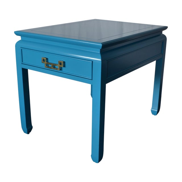 Bright Blue Vintage Chinoiserie Side Table - Image 1 of 4