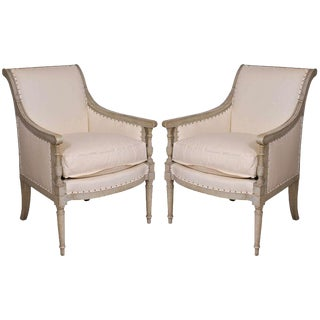 Pair of Painted Directoire Bergeres