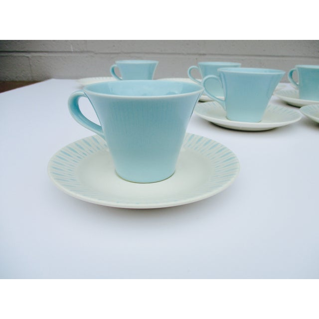 Mid Century Modern Atomic Starburst Cups & Saucers - 18 Pc - Image 4 of 11