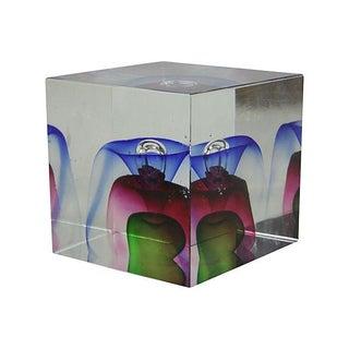 Nesteruk-Style Art Glass Cube With Veiling