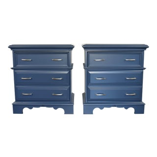 Antique Bassett Midnight Blue Nightstands - a Pair