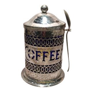 Vintage English Silver Plate Espresso Container & Spoon